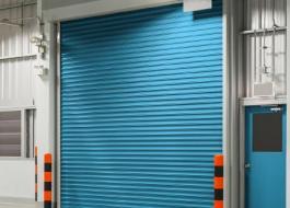 Синие рулонные противопожарные ворота EI 90
